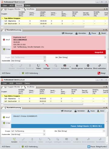 """Arbeiten Agenten in zwei 4Com-Systemen mit zwei parallelen Clients, erkennt der """"Status Controller"""" den Status des jeweils anderen Clients und reagiert entsprechend."""