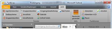 Auch über das Outlook-Plugin stehen Ihnen alle Funktionen der Multichannel ACD zur Verfügung.