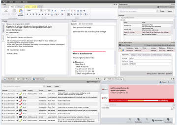 Ansicht des voll integrierten 4Com E-Mail Cliients mit Multikanal-Kontakthistorie.