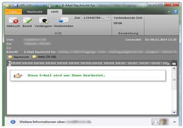 Über das Plugin können auch schriftgebundene Nachrichten wie E-Mails problemlos bearbeitet werden. Dabei stehen alle Vorteile  und Funktionen der Multichannel ACD zur Verfügung!