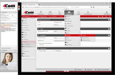 In einem Web-Meeting teilen Sie den Bildschirm bzw. eine Applikation mit Ihren Teilnehmern - hier zum Beispiel die Konfiguration der 4Com ACD. Parallel können Sie Ihr Videobild übertragen.